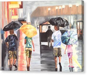 Atlantic City Boardwalk Rain Canvas Print