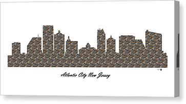 Atlantic City New Jersey 3d Stone Wall Skyline Canvas Print