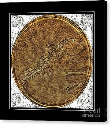 Atlantic Codfish And Jigger - Brass Etching Canvas Print