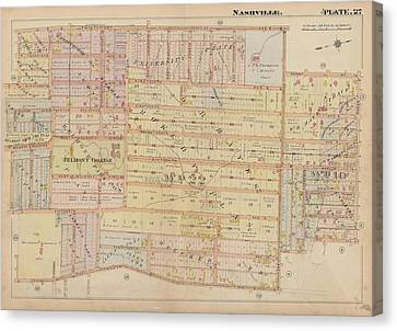 Atlas Of The City Of Nashville Tennessee Belmont Neighborhood 1908 Plate 27a Canvas Print