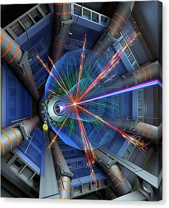 Atlas Particle Collision Simulation Canvas Print by David Parker