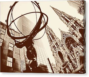 Atlas Statue And St.patrick's Cathedral In Black And White Canvas Print by Nishanth Gopinathan