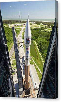 Atlas V Rocket On Launch Pad Canvas Print by National Reconnaissance Office