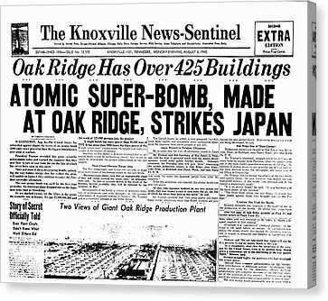 Atomic Bomb Newspaper Front Page Canvas Print