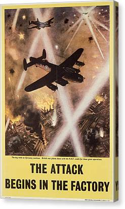 Attack Begins In Factory Propaganda Poster From World War II Canvas Print by Anonymous