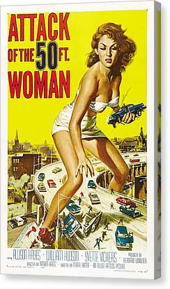 Attaching Canvas Print - Attack Of The 50 Ft Woman Poster by Gianfranco Weiss