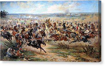 Attack Of The Horse Regiment Canvas Print by Victor Mazurovsky