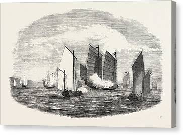 China Cove Canvas Print - Attack On A Chinese Piratical Fleet By The Boats Of H by Chinese School