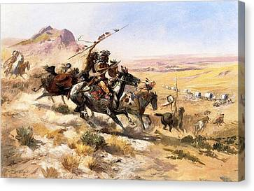 Wagon Canvas Print - Attack On The Wagon Train by Charless Russell