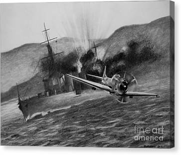 Canvas Print featuring the drawing Attack On The Yura by Stephen Roberson
