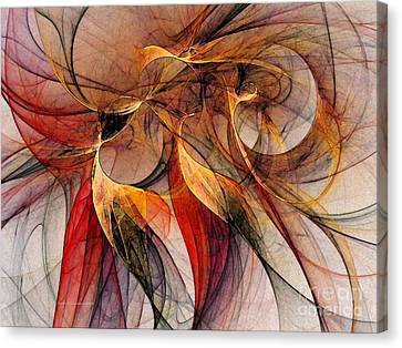 Cheerful Canvas Print - Attempt To Escape-abstract Art by Karin Kuhlmann