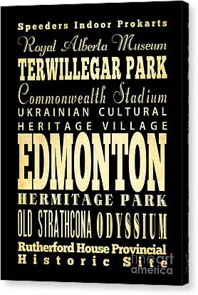 Attraction And Famous Places Of  Edmonton Canada Canvas Print by Joy House Studio