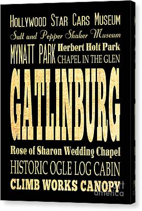 Attraction And Famous Places Of Gatlinburg Tennessee Canvas Print by Joy House Studio