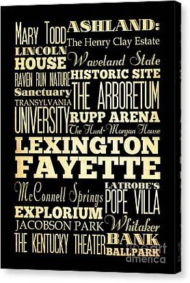 Attractions And Famous Places Of Lexington Fayettte Kentucky Canvas Print