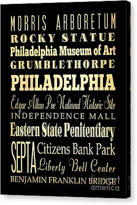 Attractions And Famous Places Of Philadelphia Pennsylvania Canvas Print by Joy House Studio