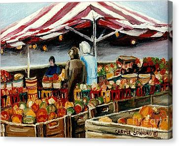 Atwater Market Montreal Street Scene Canvas Print by Carole Spandau