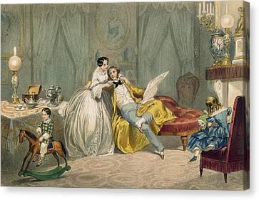 Au Coin Du Feu Canvas Print by Henri de Montaut