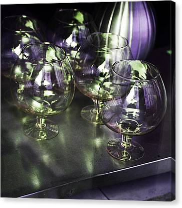 Aubergine Paris Wine Glasses Canvas Print by Evie Carrier