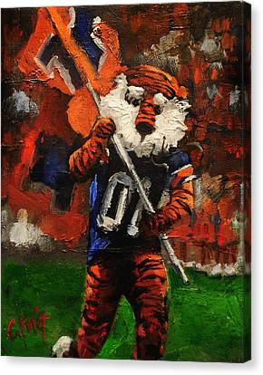 Aubie Running Flags Canvas Print by Carole Foret