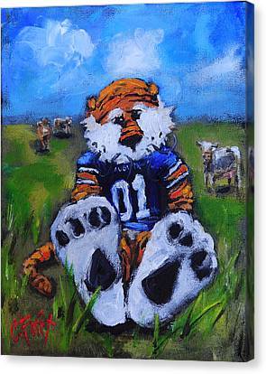 Mascots Canvas Print - Aubie With The Cows by Carole Foret