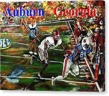 Auburn Georgia Football  Canvas Print by Mark Moore