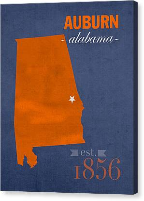 Auburn University Tigers Auburn Alabama College Town State Map Poster Series No 016 Canvas Print by Design Turnpike