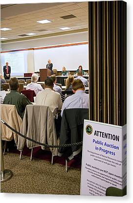 Auction Of Oil And Gas Rights Canvas Print by Jim West