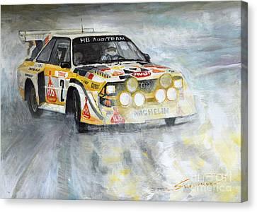 Winter Light Canvas Print - 1985 Audi Quattro S1 by Yuriy Shevchuk