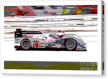 Tron Canvas Print - Audi R18 E-tron Bordered by Pixelated Foto