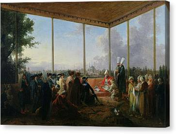 Audience Given In Constantinople By The Grand Vizier Aimali Carac For Francois-emmanuel Guignard Canvas Print by Francesco Giuseppe Casanova