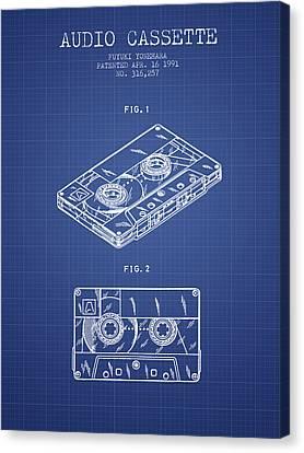 Cassettes Canvas Print - Audio Cassette Patent From 1991 - Blueprint by Aged Pixel