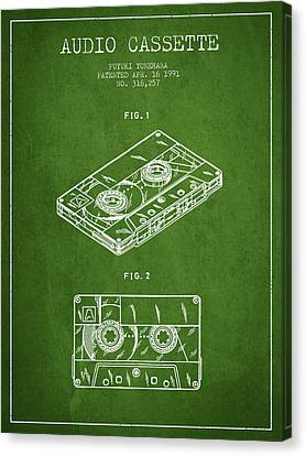 Cassettes Canvas Print - Audio Cassette Patent From 1991 - Green by Aged Pixel