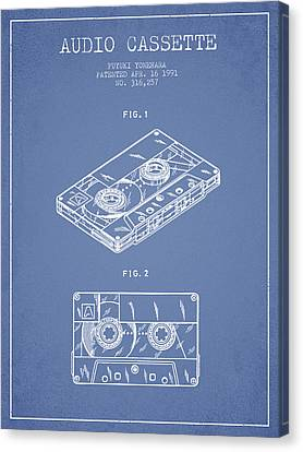Cassettes Canvas Print - Audio Cassette Patent From 1991 - Light Blue by Aged Pixel