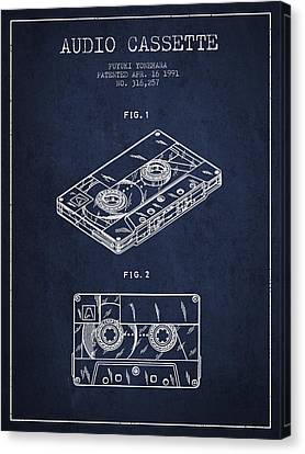 Cassettes Canvas Print - Audio Cassette Patent From 1991 - Navy Blue by Aged Pixel