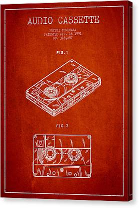 Melody Canvas Print - Audio Cassette Patent From 1991 - Red by Aged Pixel