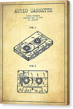 Cassettes Canvas Print - Audio Cassette Patent From 1991 - Vintage by Aged Pixel