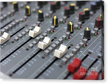 Canvas Print featuring the photograph Audio Mixing Board Console by Gunter Nezhoda