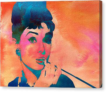 Canvas Print featuring the painting Audrey Hepburn 1 by Brian Reaves