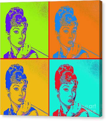 Audrey Hepburn 20130330v2 Four Canvas Print by Wingsdomain Art and Photography