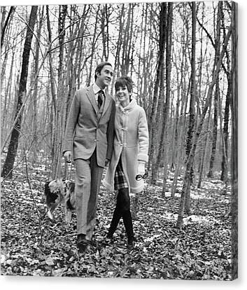 Audrey Hepburn And Husband Walking In The Woods Canvas Print
