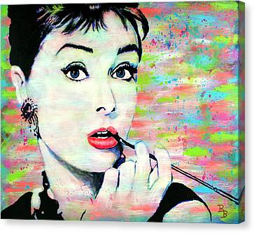 Canvas Print featuring the painting Audrey Hepburn Art Breakfast At Tiffany's by Bob Baker