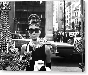 1950s Portraits Canvas Print - Audrey Hepburn Breakfast At Tiffany's by Georgia Fowler