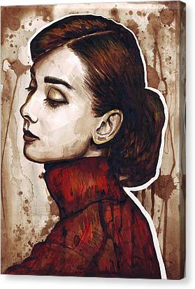 Watercolor Canvas Print - Audrey Hepburn by Olga Shvartsur