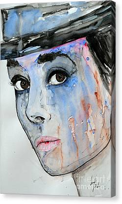 Canvas Print featuring the painting Audrey Hepburn - Painting by Ismeta Gruenwald