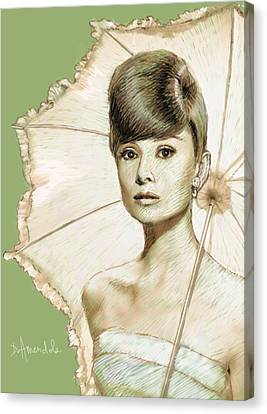 Audrey Hepburn Portrait Canvas Print by Dominique Amendola