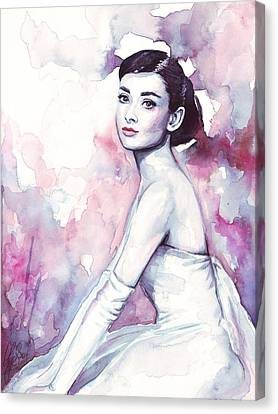 Audrey Hepburn Purple Watercolor Portrait Canvas Print by Olga Shvartsur