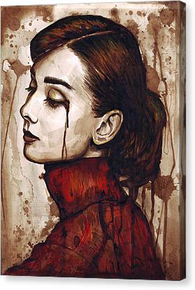 Sadness Canvas Print - Audrey Hepburn - Quiet Sadness by Olga Shvartsur