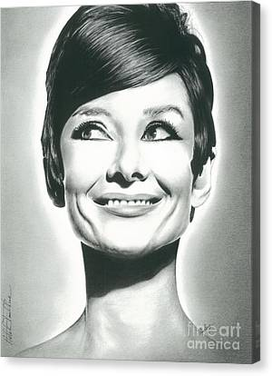 Hepburn Canvas Print - Audrey Hepburn Smile Charcoal Pencil Drawing 2012 by N Faulkner