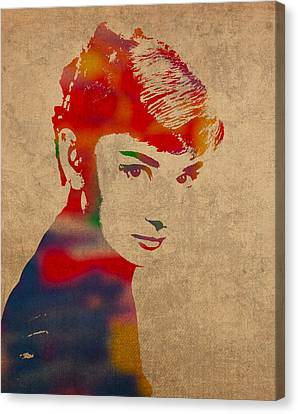 Audrey Hepburn Watercolor Portrait On Worn Distressed Canvas Canvas Print by Design Turnpike