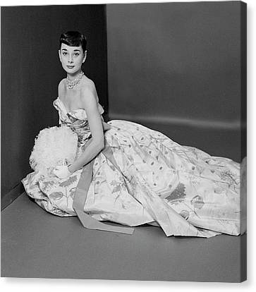 Audrey Hepburn Wearing An Adrian Dress Canvas Print by Richard Rutledge
